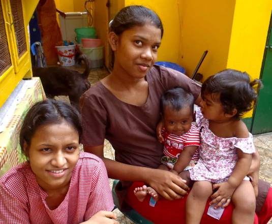 Tuni with her sisters, right at home at Shishur Sevay.