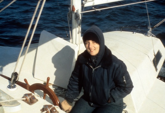 Michelle at the Helm of the Aquarius